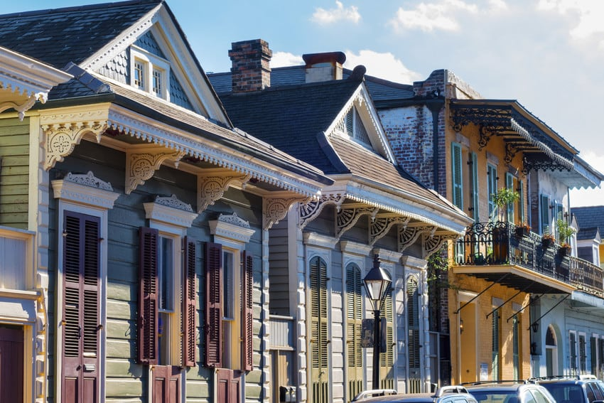 New Orleans french quarter townhouses.