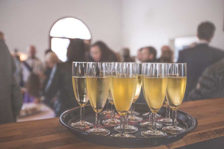 Champagne at a New Orleans wedding venue.