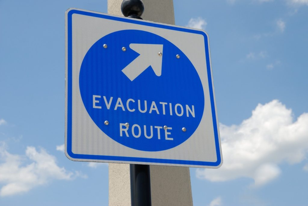 Evacuation route during hurricane season
